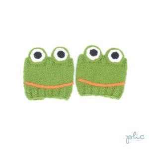 Bandes circulaires de 8cm de haut sur 11cm de large, réalisées au tricot par Plic et représentant des grenouilles.