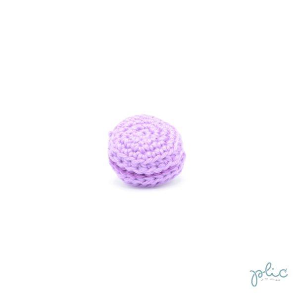 macaron mauve clair de 3cm de diamètre, crocheté par Plic