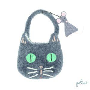 Sac en forme de tête de chat de 18cm de haut et 22cm de large, muni d'une anse de 32cm et d'une déco souris, le tout tricoté et crocheté par Plic.